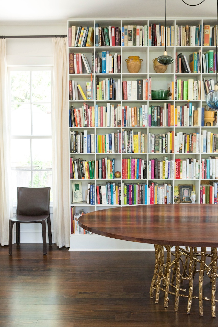 """Rachel designed this dining room to include the client's massive collection of cookbooks. """"The client was a food writer and is the ultimate """"foodie"""", says Rachel."""