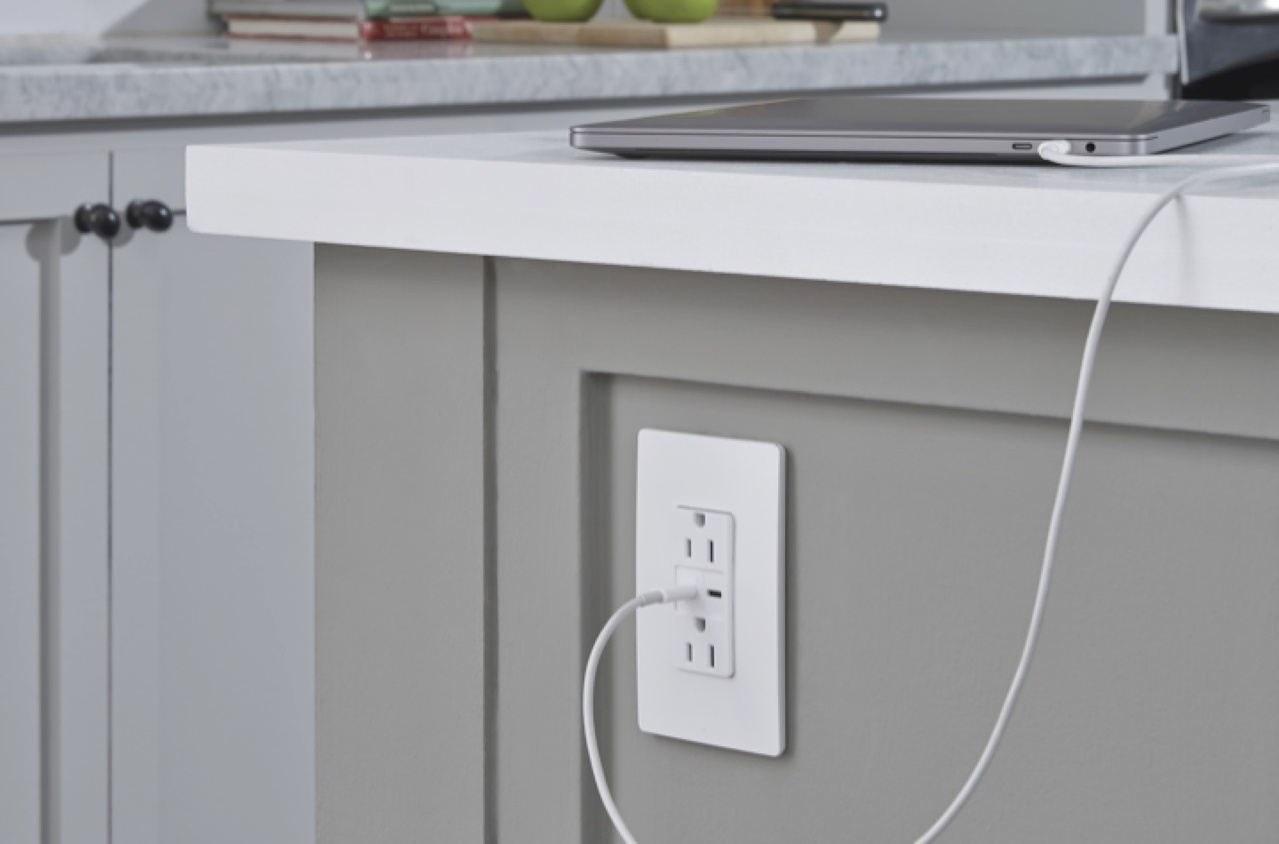image of radiant USB Charging outlet on side of kitchen counter