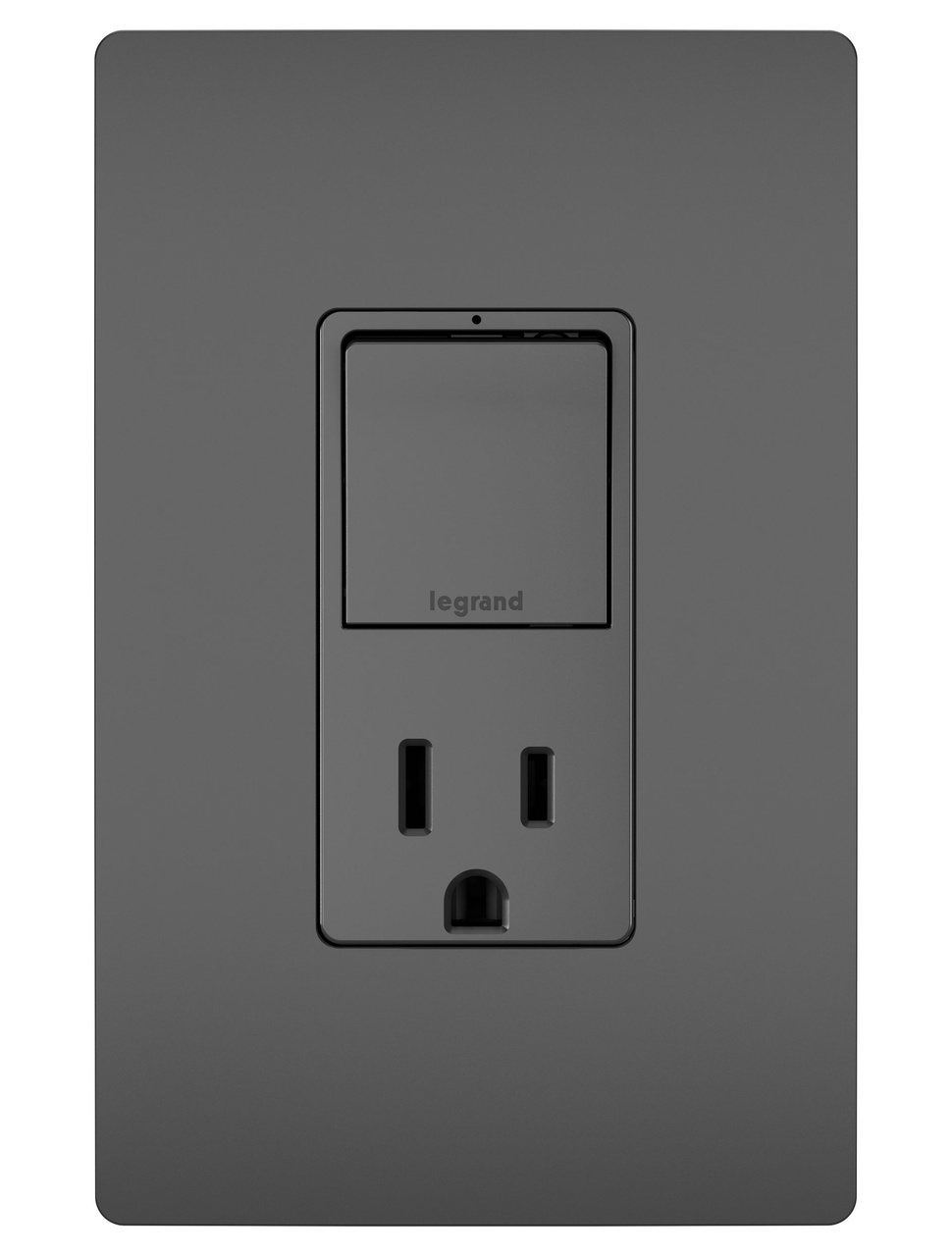Single Pole/3-Way Switch & 15A Tamper-Resistant Outlet, Black