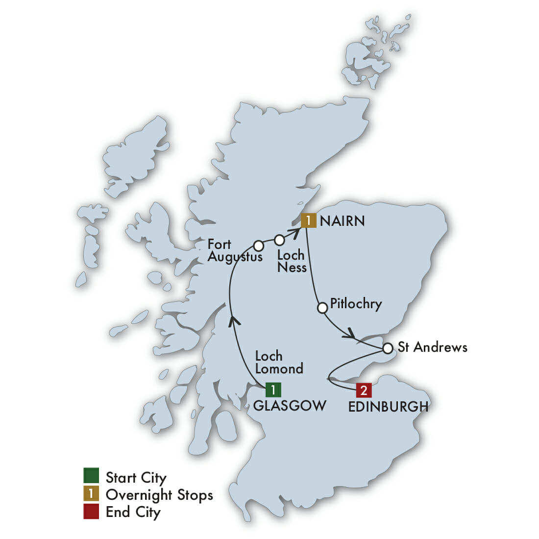CIE Tours Tour Map  - 2021 - 5 Day Taste Of Scotland