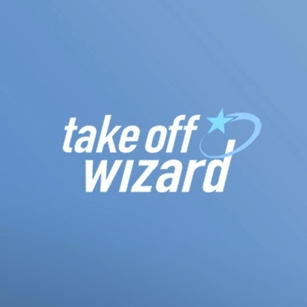Blue background with take-off wizard text logo