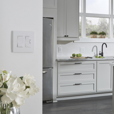 White kitchen with kitchen light switches