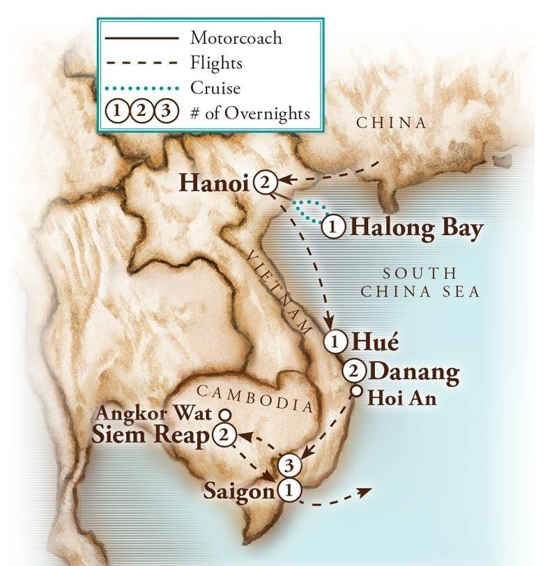 Tour Map for Vietnam & Cambodia
