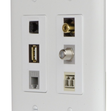 White panel with AV and internet connection ports