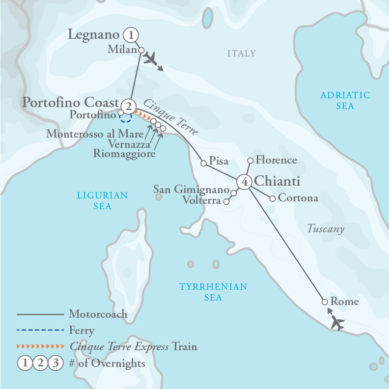 Tour Map for Tuscany & the Italian Riviera
