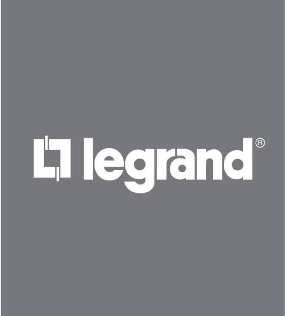 White Legrand logo with grey background