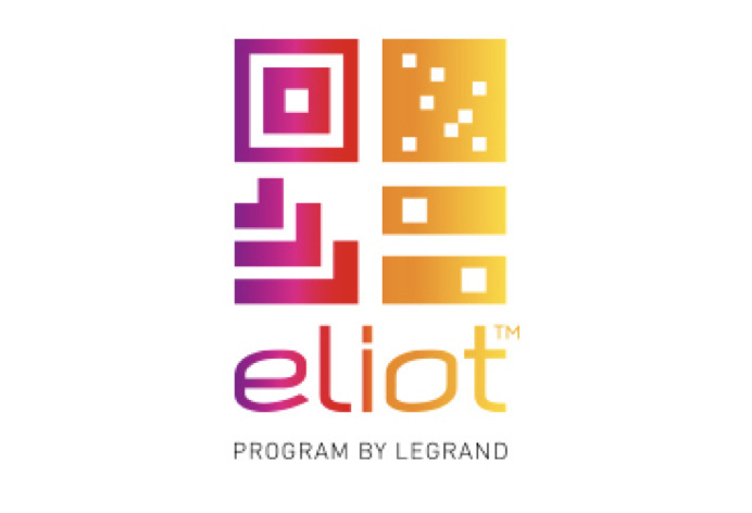 Legrand eliot logo with geometric designs and gradient colors from purple to yellow on white background