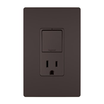Single Pole/3-Way Switch & 15A Tamper-Resistant Outlet, Brown