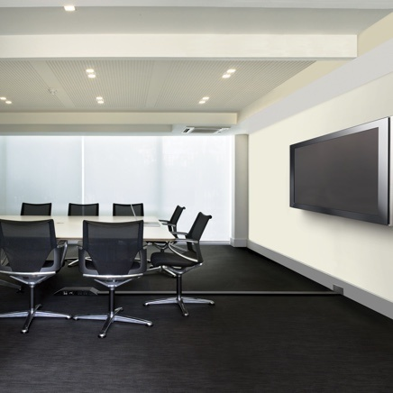 Meeting room space with OFR providing power to TV and conference table