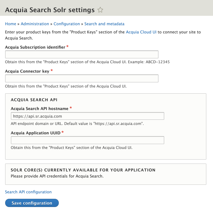 Connect your site to Acquia Search