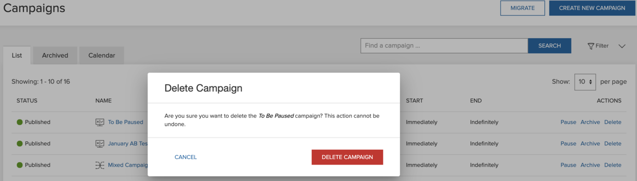 Confirm you want to delete a Personalization campaign