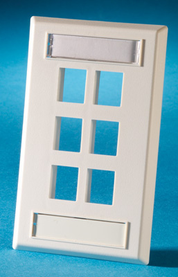 Single gang plastic faceplate, holds six Keystone jacks or modules, fog white, OR-KSFP6