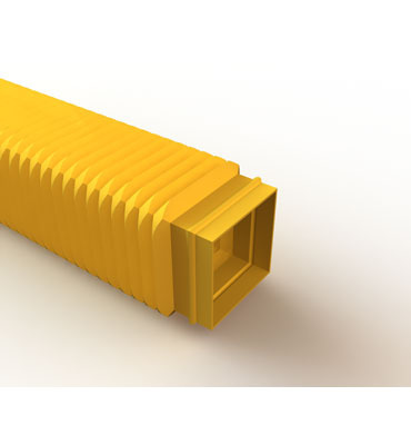 Mighty Mo Fiber Raceway, Flexible Tubing open, with cover, 50mmsq, 350mmlg yellow - OR-MMFCTOC50S350-Y