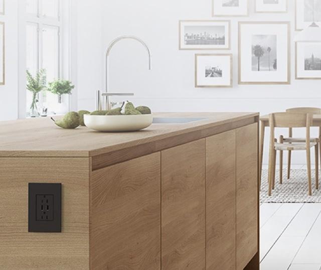 adorne graphite outlet on wood kitchen island