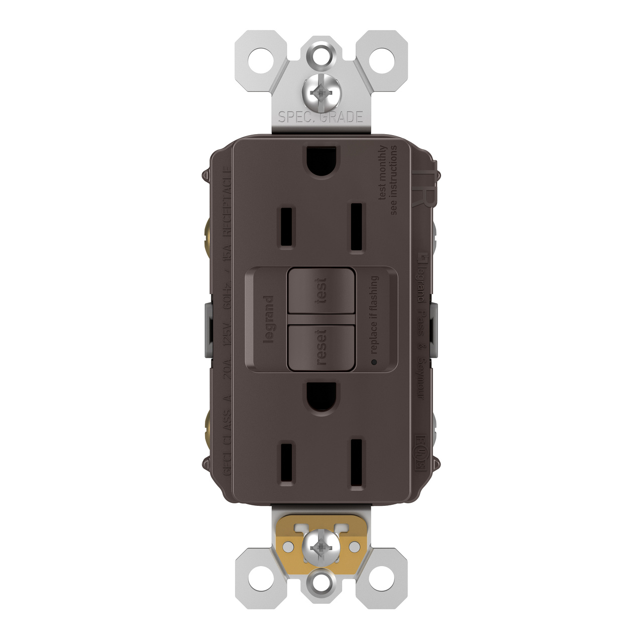 Self-Test Tamper-Resistant Weather-Resistant GFCI Receptacle 20A 125Vac in Brown
