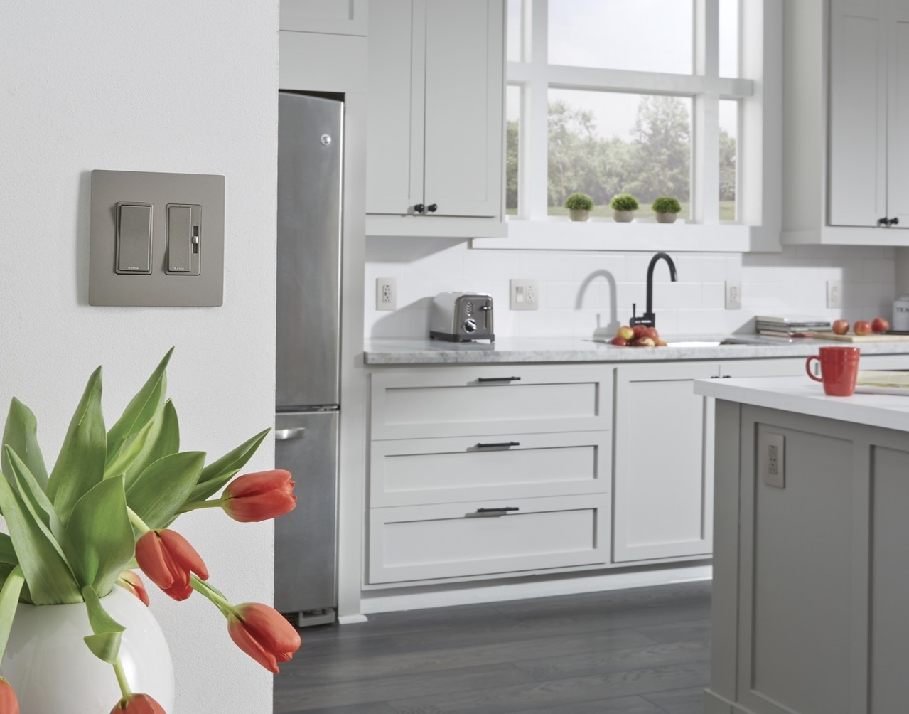 Desktop image of radiant switches in a transitional style kitchen