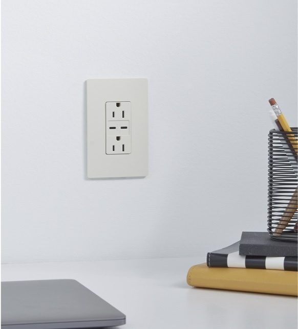 USB-C outlet in white from the radiant Collection by Legrand above desk