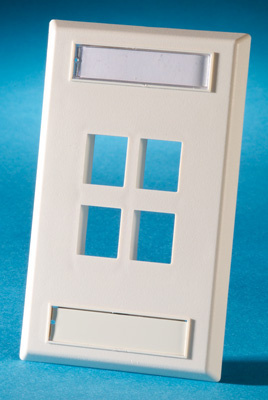 Single gang plastic faceplate, holds four Keystone jacks or modules, fog white, OR-KSFP4