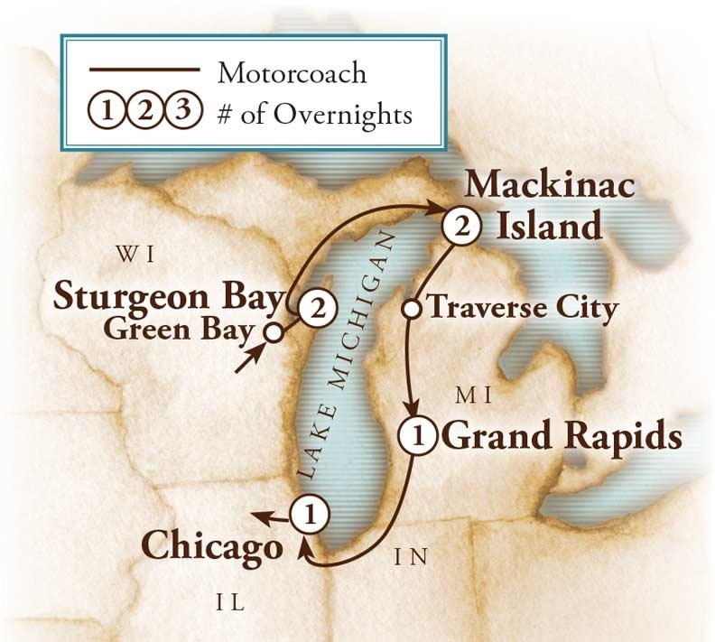 Tour Map for Lake Michigan Circle Tour