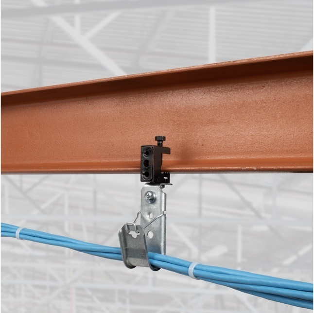 J-hook fastener with cables on structural beam