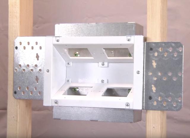 Evolution wall box installed in new construction slats