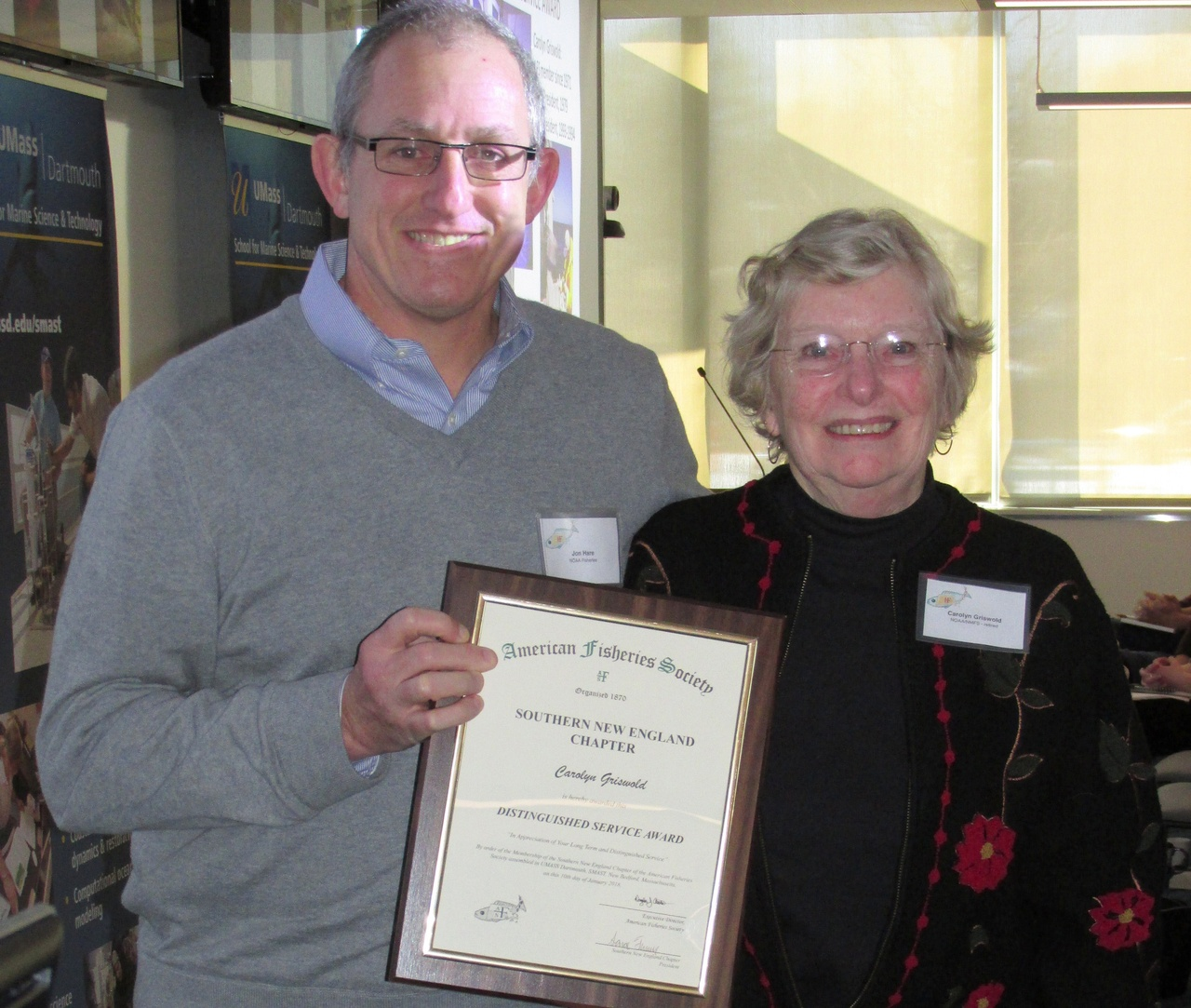 Jon Hare presents AFS award to Carolyn Griswold