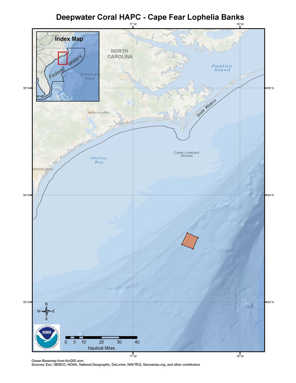This is a map of the Cape Fear Lophelia Banks Deepwater Coral HAPC in the South Atlantic Region.ks