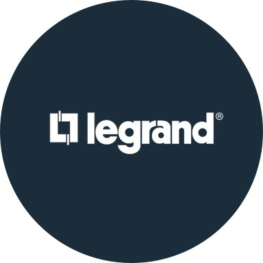 Legrand logo with navy blue background