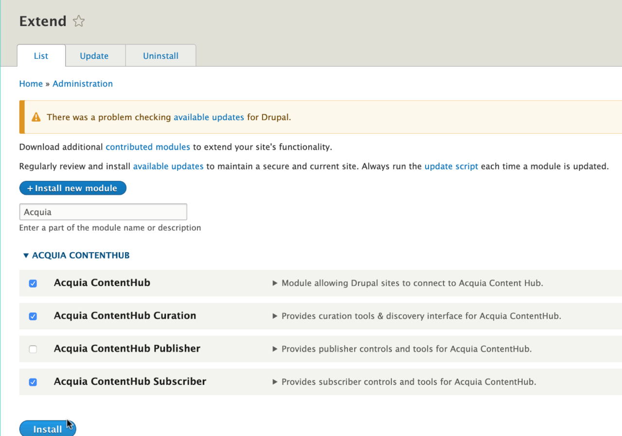 Select the modules for Content Hub subscribing websites