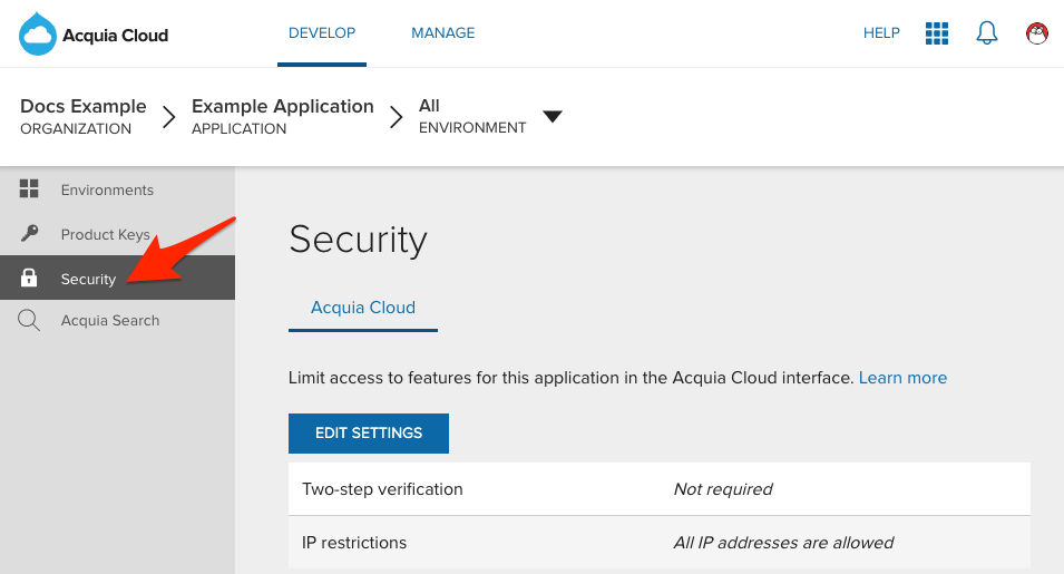 Securing your application with IP address whitelisting — Acquia
