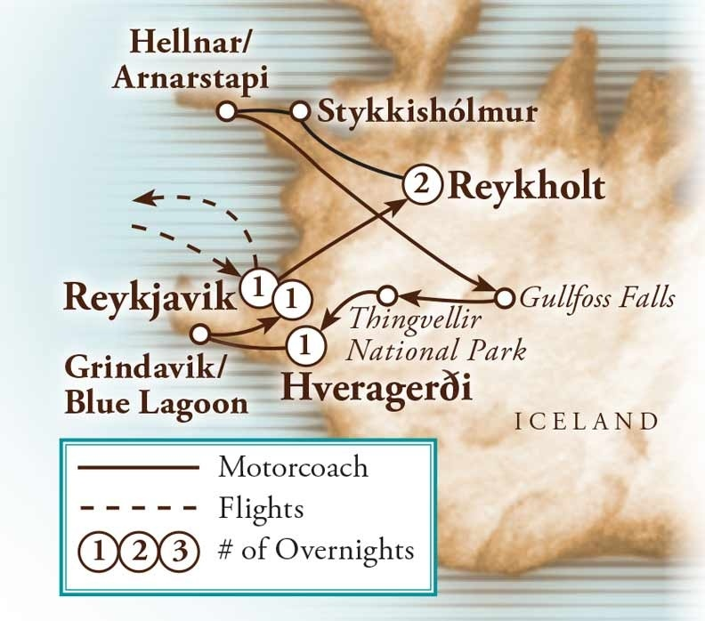 Tour Map for Iceland's Northern Lights