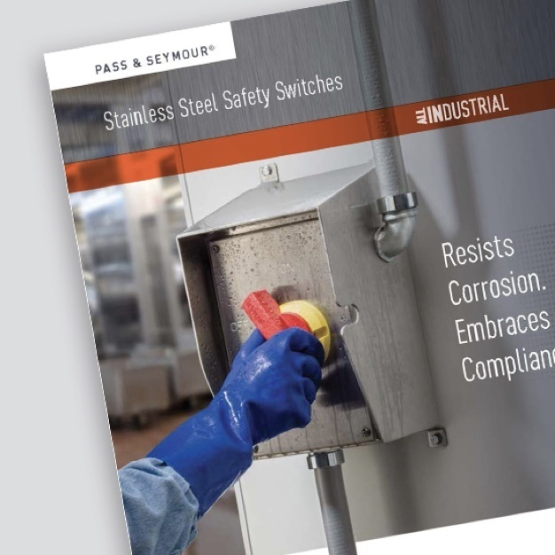 Cover of brochure with hand in blue rubber glove operating red and yellow safety switch
