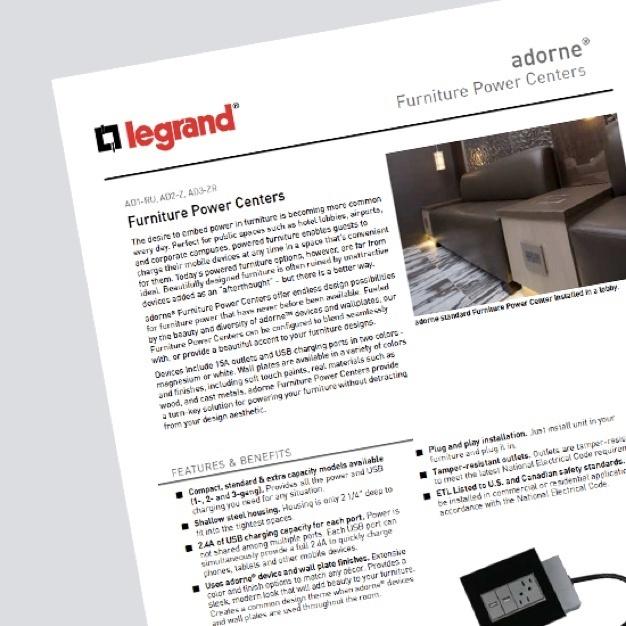 screenshot of adorne Furniture Power Center White Paper with Legrand logo