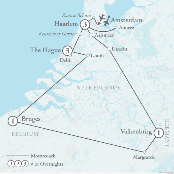 Tour Map for Holland in Bloom featuring the Floriade