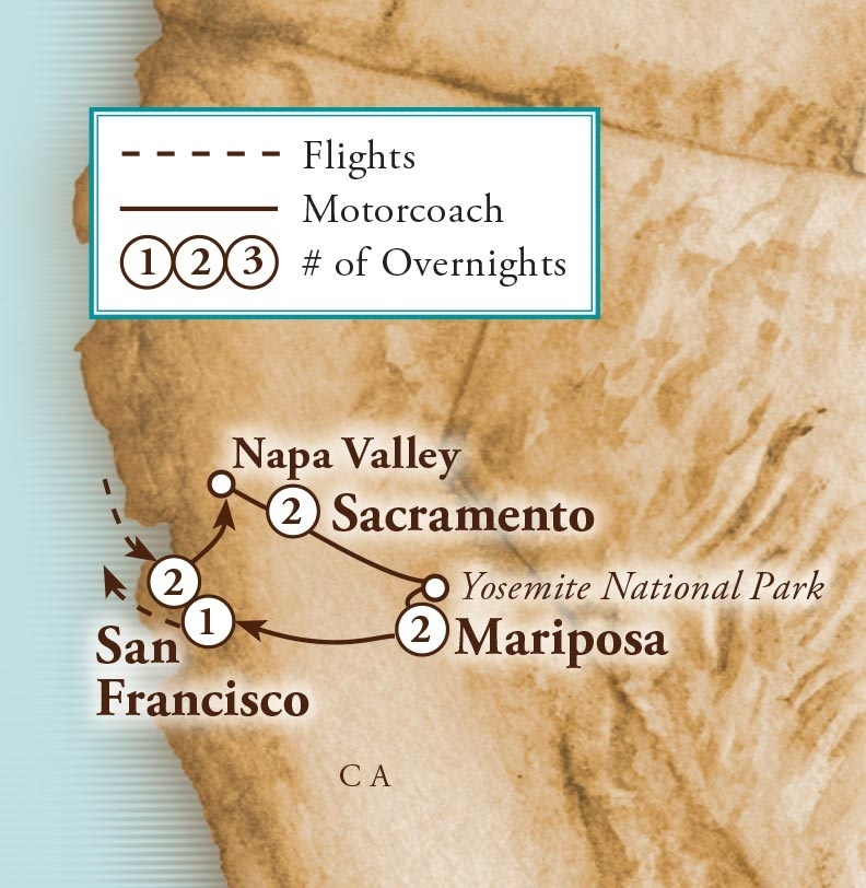 Tour Map for Northern California Highlights
