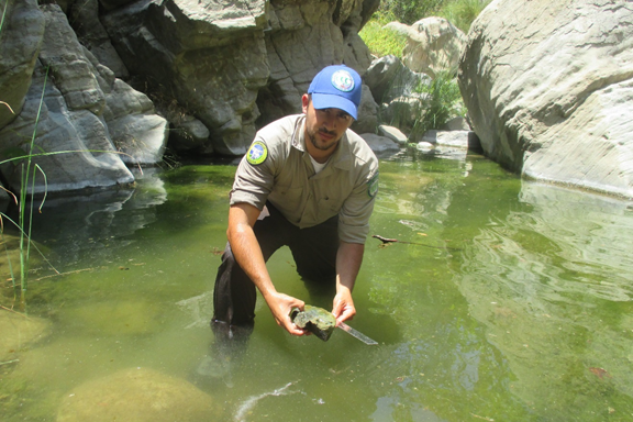 California Veterans Corps member, James Garcia, monitors a stream in Southern California.