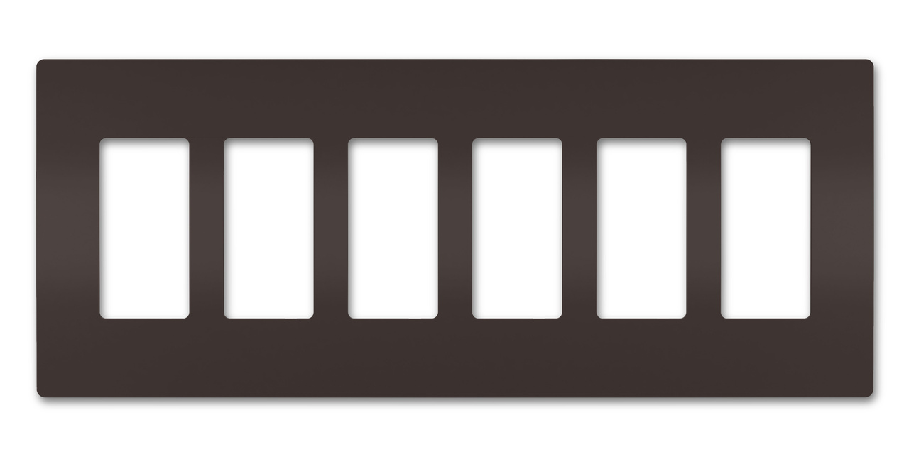 Six-Gang Screwless Wall Plate, Brown