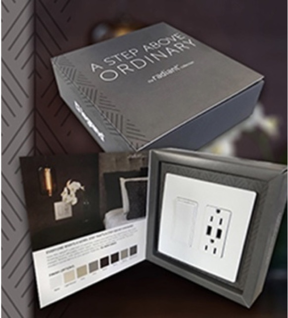 sample box of radiant Collection by adorne USB-A outlet and light switch with designer screwless wall plate