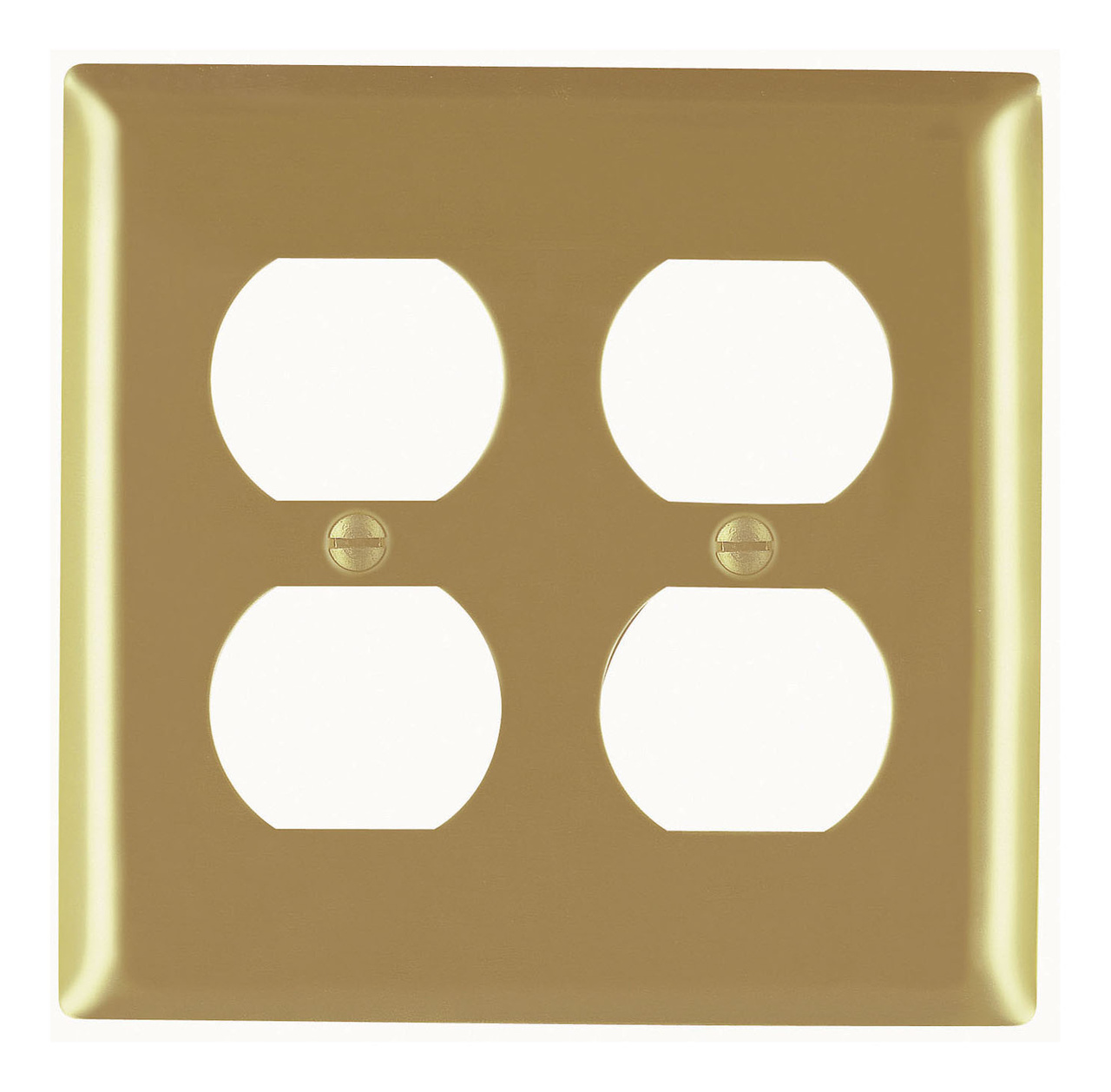 Duplex Receptacle Openings, Two Gang, Brass