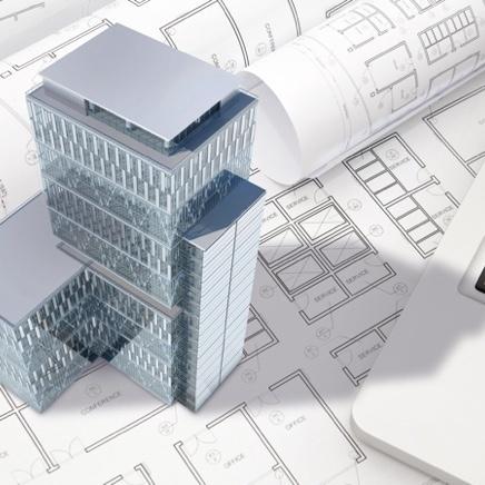 3D building model resting on paper building plans