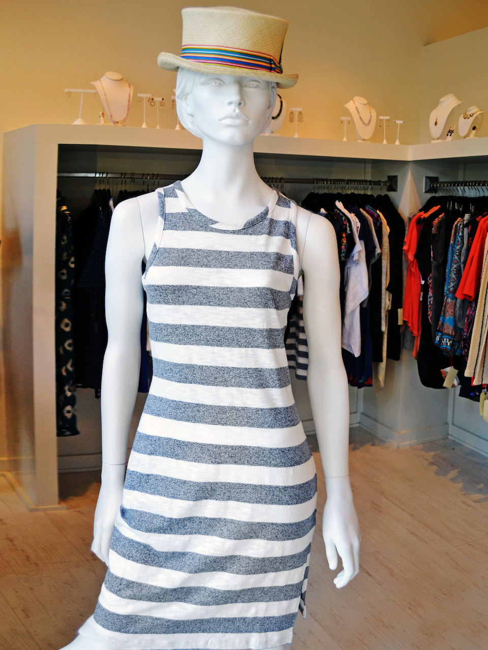Easy breezy cotton striped tank dress for Fourth of July
