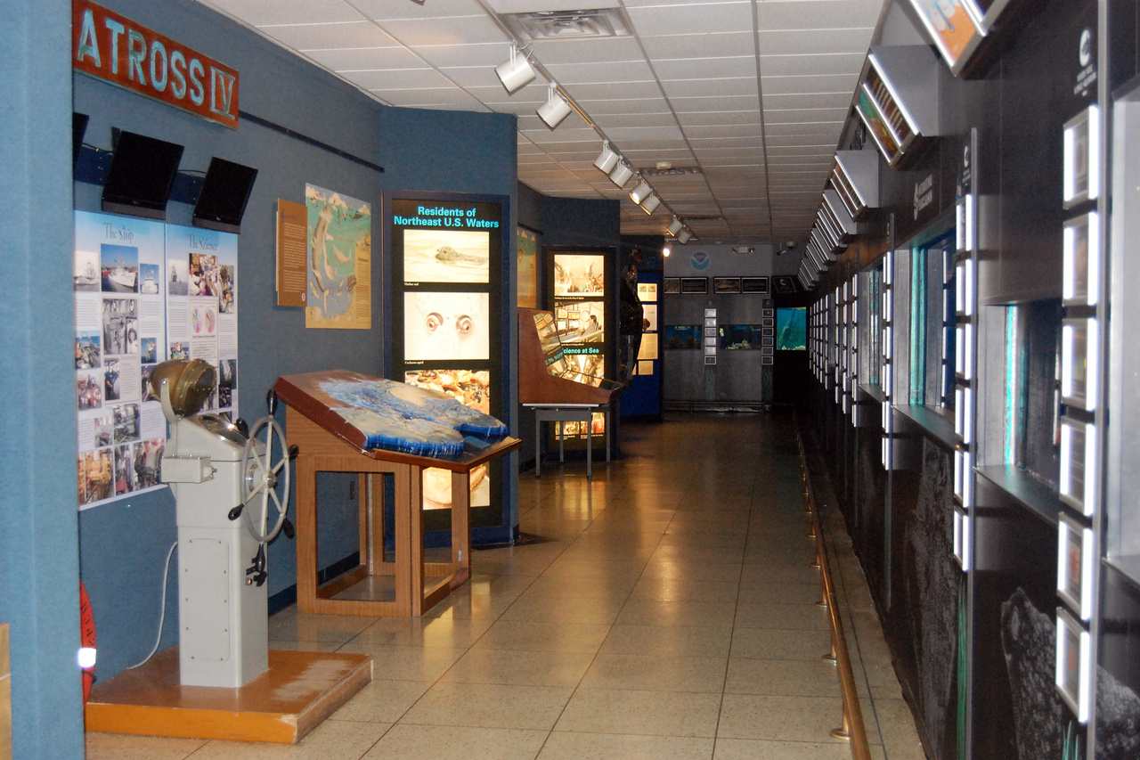Dry exhibits in aquarium gallery with pictures of vessels and fish