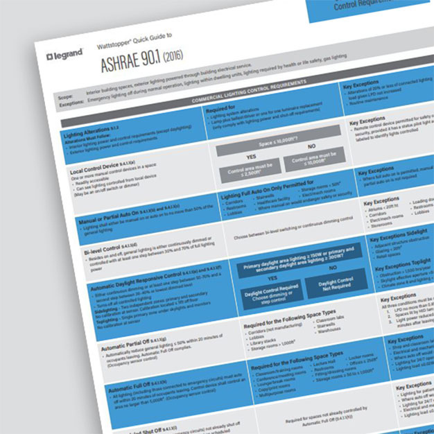 Front page of the ASHRAE 90.1 2016 Quick Guide from Wattstopper over a grey background