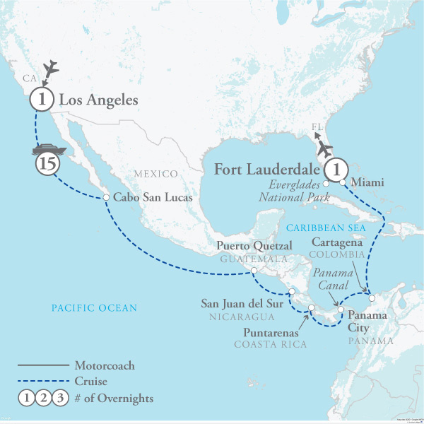 Tour Map for Panama Canal Cruise with NCL