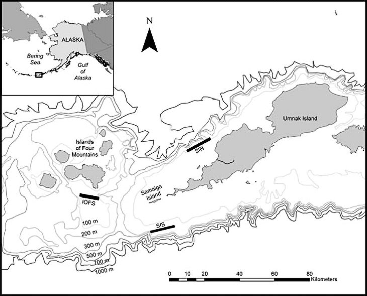 Map of the Samalga Pass and Islands of Four Mountains area in the Aleutian Islands showing the three study sites.