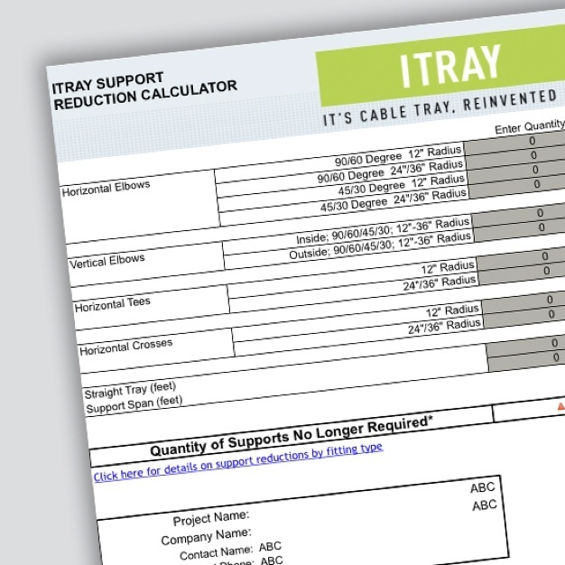 Page of Itray Support Reduction Calculator document