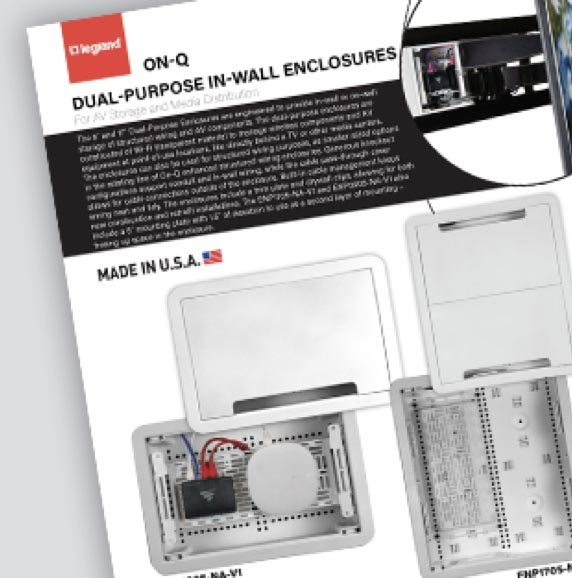 OnQ Dual-Purpose In-Wall Enclosures Sell Sheet