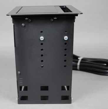 InteGreat A/V Table Box can fit 2 of the 5 possible Cable Retractors on the left side of the box