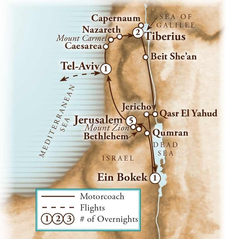 Tour Map for Israel