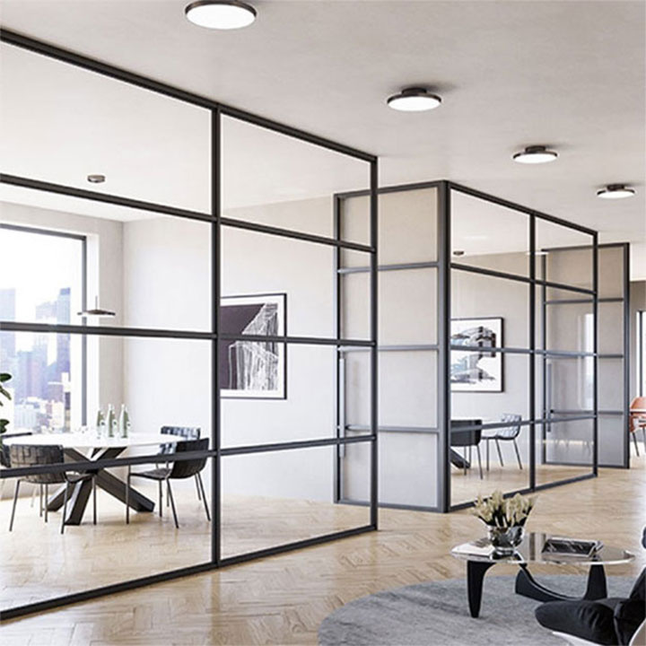 Large commercial space with glass walled offices
